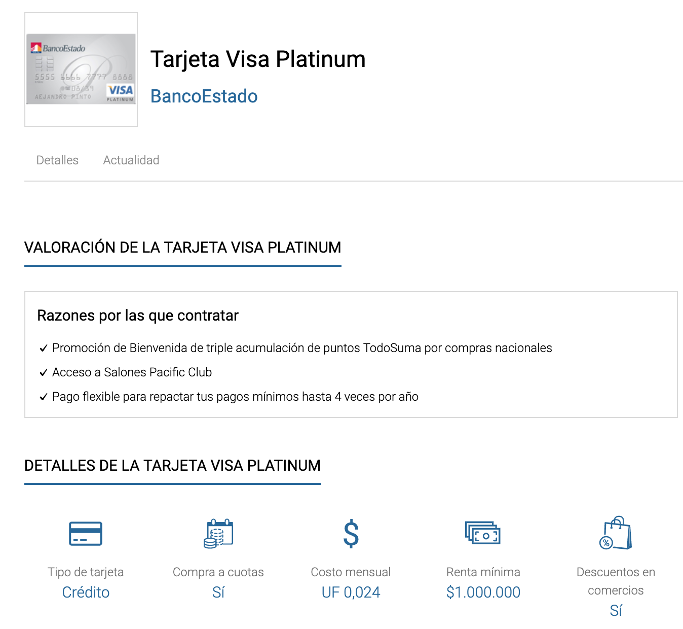 Comparador tarjetas: tarjeta Visa Platinum