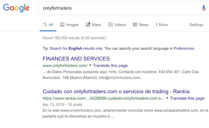 Onlyfortraders.com en Google