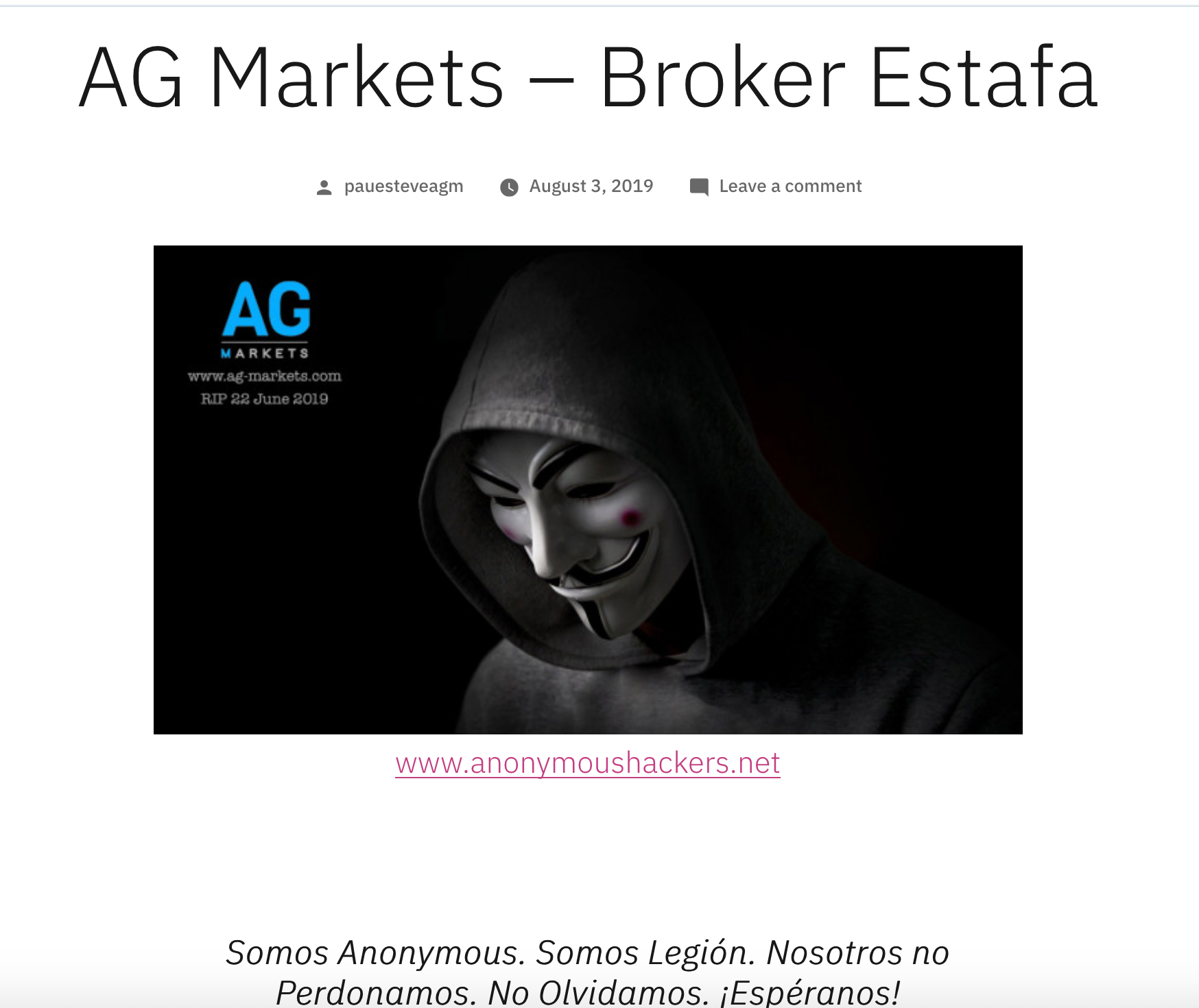 AG Markets - Estafa