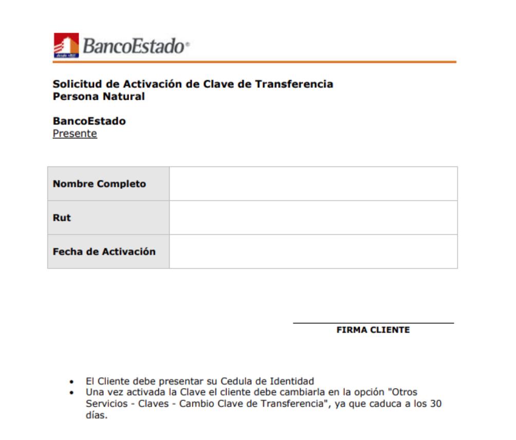 Activar clave de transferencia Banco Estado