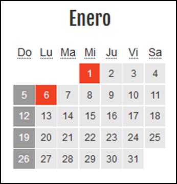 Calendario laboral Colombia: Enero 2020