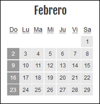 Calendario laboral Colombia: Febrero 2020