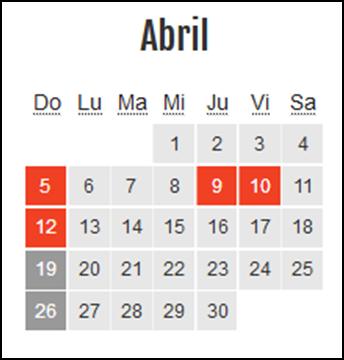 Calendario laboral Colombia: Abril 2020
