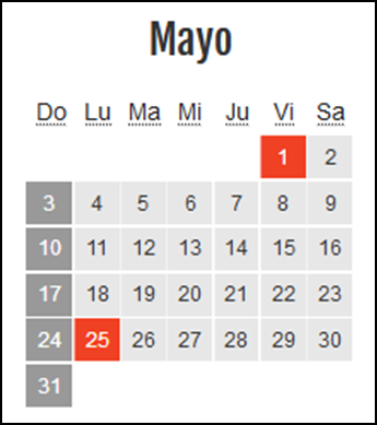 Calendario laboral Colombia: Mayo 2020