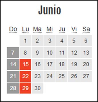 Calendario laboral Colombia: Junio 2020