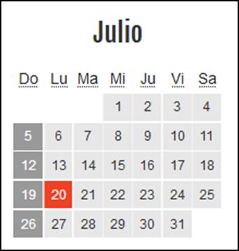 Calendario laboral Colombia: Julio 2020