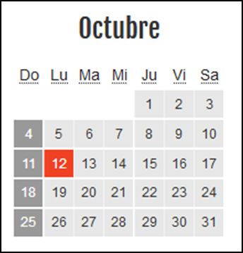 Calendario laboral Colombia: Octubre 2020