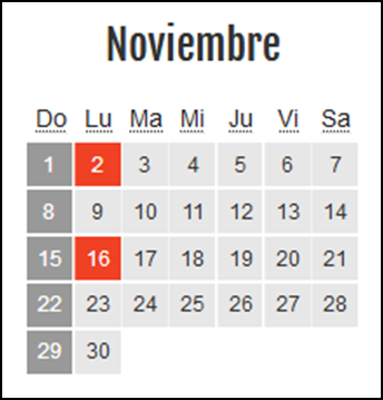 Calendario laboral Colombia: Noviembre 2020