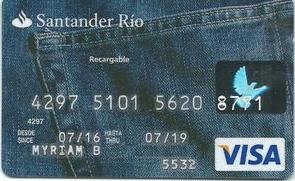 Mejores tarjetas prepagas 2021: Tarjeta Santander Río Visa Recargable