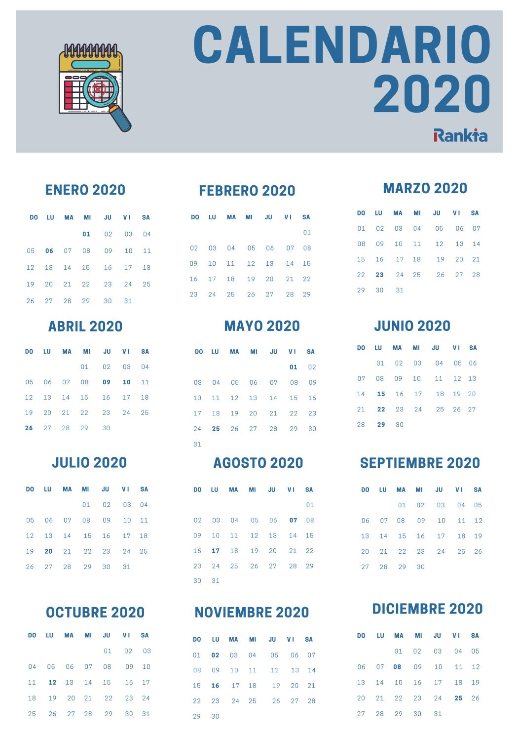 Calendario de festivo 2020 Colombia - Para descargar o imprimir