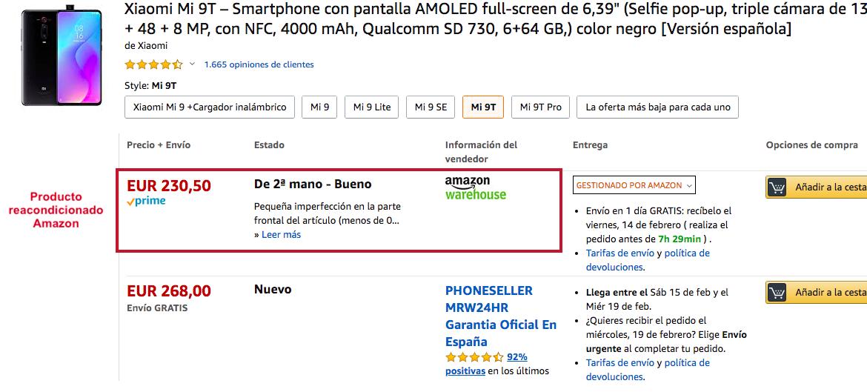 Ejemplo producto refurbished Amazon