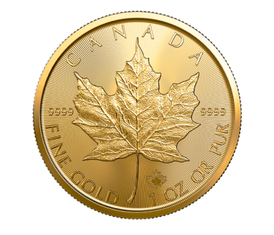 Revero de la moneda de oro Maple Leaf canadiense