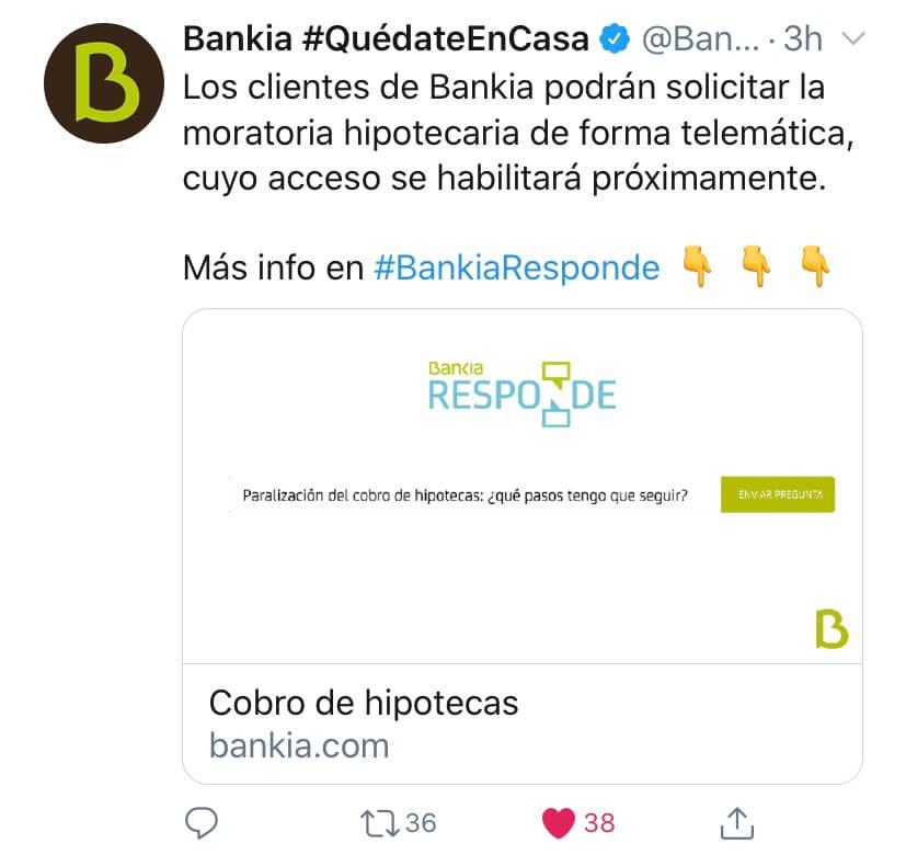 Página de Bankia adpatada para solicitar moratoria de hipoteca