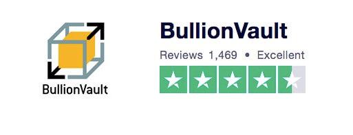 Valoración excelente de BullionVault en TrustPilot con un 4,5 sobre 5 y 1.469 opiniones