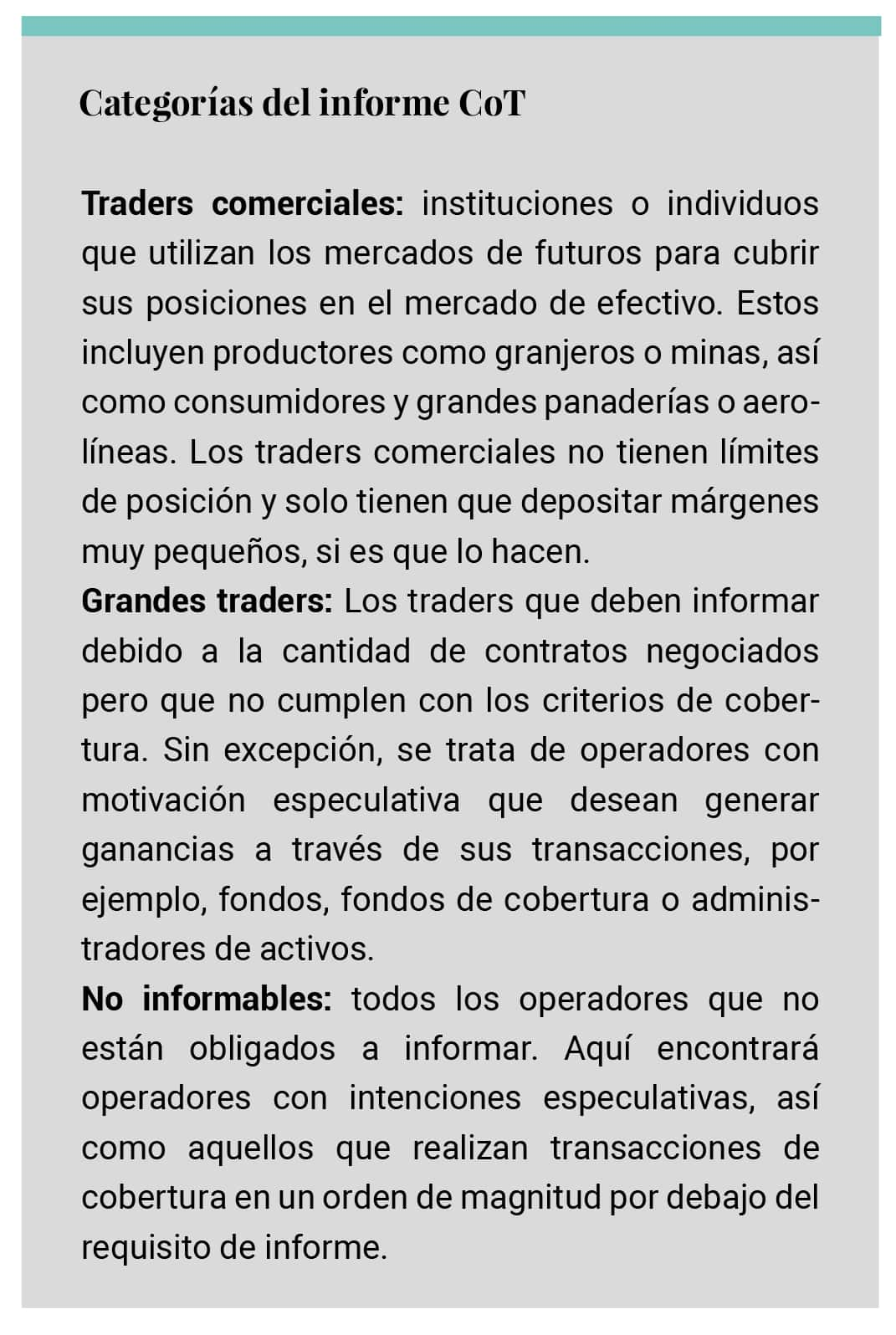 Categorías Informe CoT