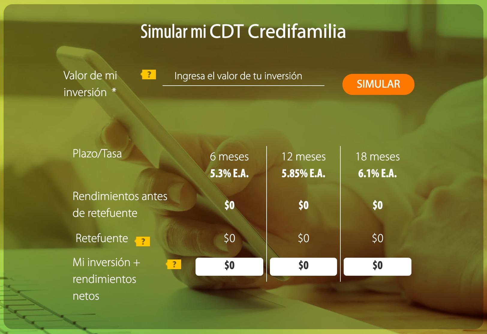 Simular CDT Credifamilia