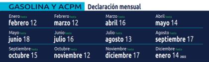 Calendario Tributario 2021 DIAN – Gasolina y ACPM