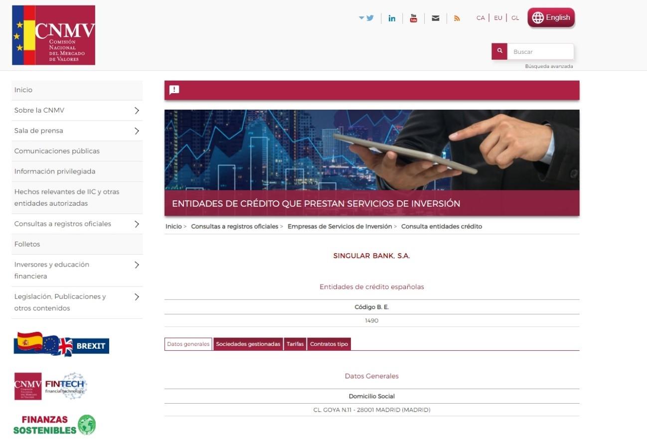Review del Bróker Self Bank: regulación en la CNMV