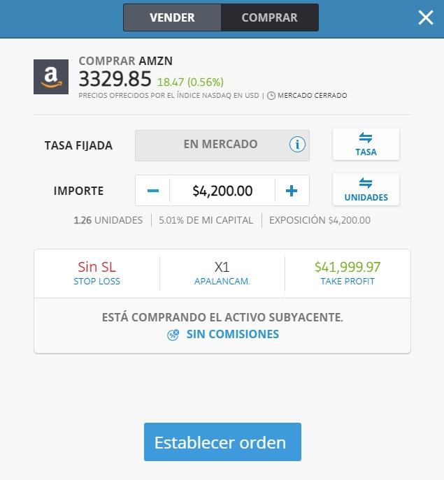 Compra al contado de acciones con eToro