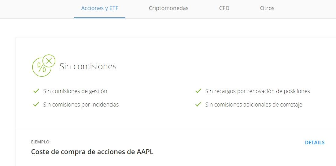 Comisiones de eToro en acciones y ETFs