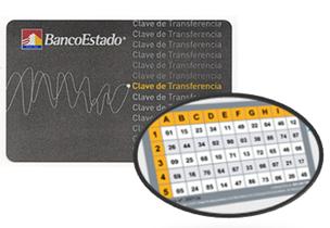 Tarjeta de Clave de Transferencias o Tarjeta de coordenadas de BancoEstado