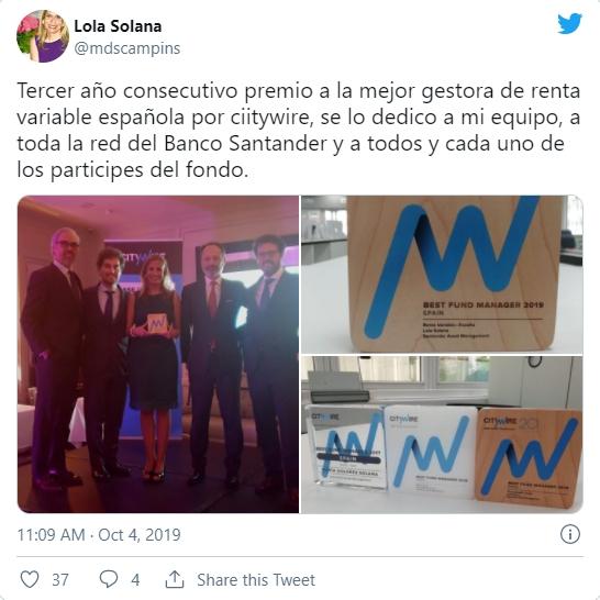 Lola Solana como mejor gestora de fondos de renta variable española